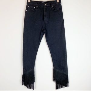 Zara NWOT high waisted fringe hem black jeans